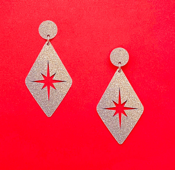Silver Sparkle Retro Rhombus Twinkle Drop Earrings