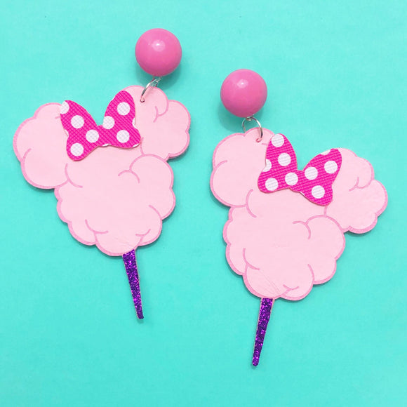 Pink Minnie Mouse Cotton Candy Drop Earrings