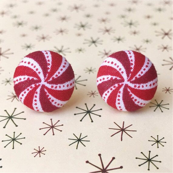 Peppermint Swirl Fabric Button Earrings Red & White
