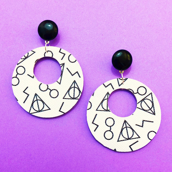 Black & White Harry Potter Print Round Retro Drop Earrings