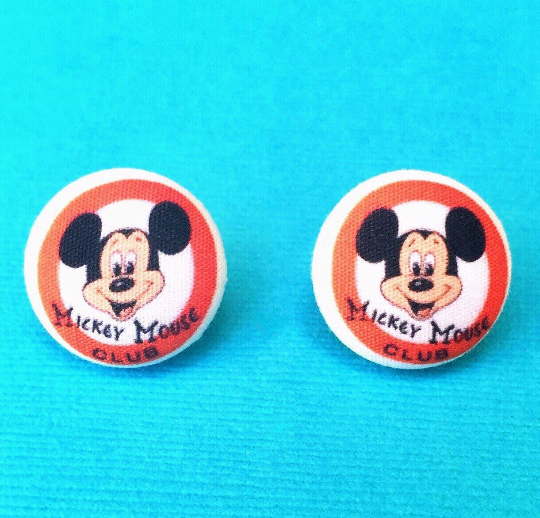 Mickey Mouse Club Inspired Fabric Button Earrings