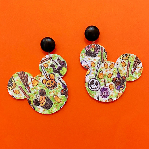 Spooky Park Snacks Treats Print Mouse Drop Earrings