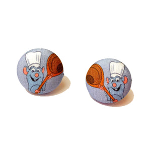 Remy Ratatouille Fabric Button Earrings