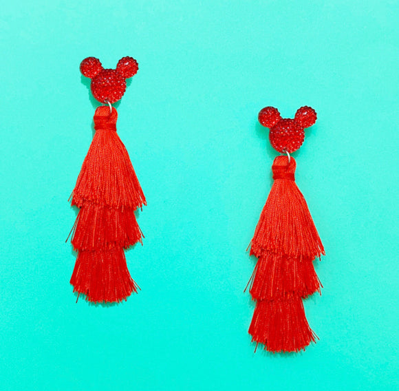 Red Rhinestone Mouse Triple Layer Tassel Drop Earrings