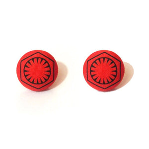 First Order Red Star Wars Fabric Button Earrings