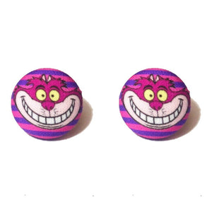 Cheshire Cat Alice in Wonderland Inspired Fabric Button Earrings