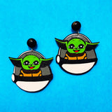 Baby Yoda & Carriage Star Wars Drop Earrings
