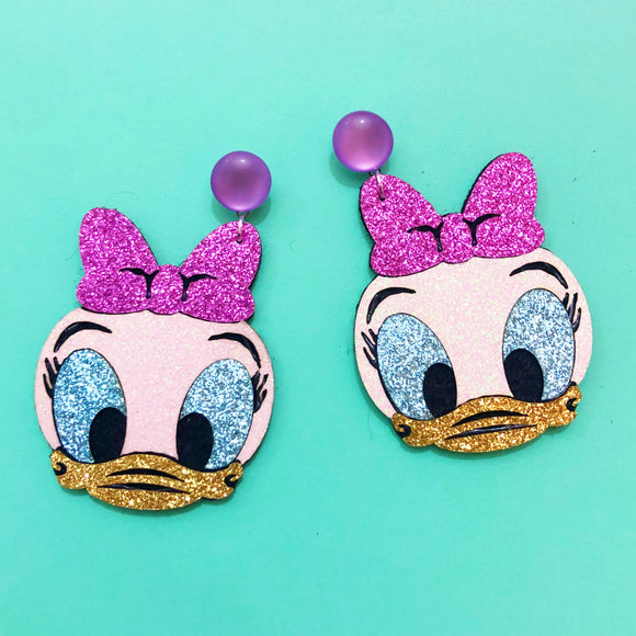 Daisy Duck Lavender Bow Sparkle Chibi Drop Earrings