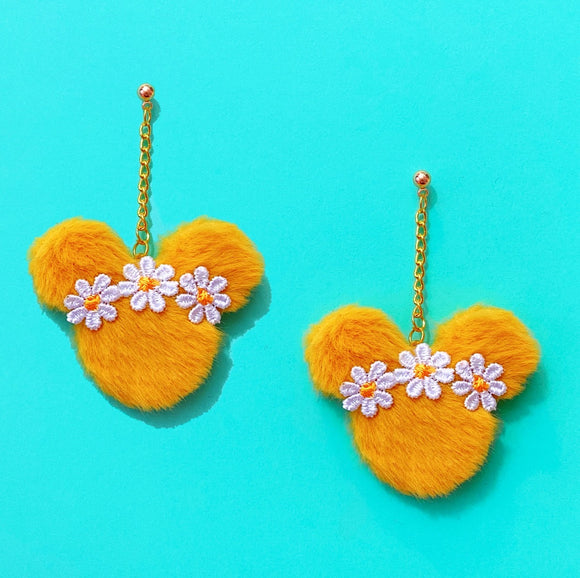 Yellow Daisy Flower Crown Plush Mouse Pom Pom Hanging Drop Earrings