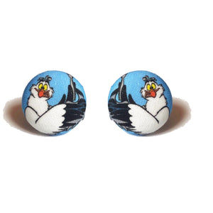 Scuttle The Seagull Little Mermaid Fabric Button Earrings