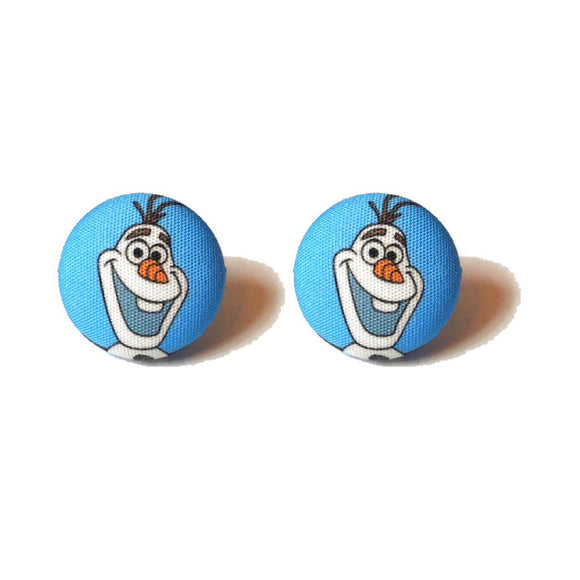 Olaf Frozen Snowman Inspired Fabric Button Earrings
