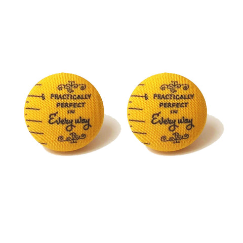 Practically Perfect in Every Way Fabric Button Earrings
