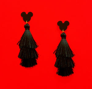 Matte Black Mouse Triple Layer Tassel Drop Earrings
