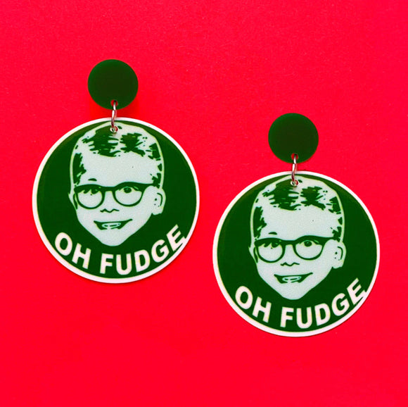 Oh Fudge A Christmas Story Round Acrylic Drop Earrings