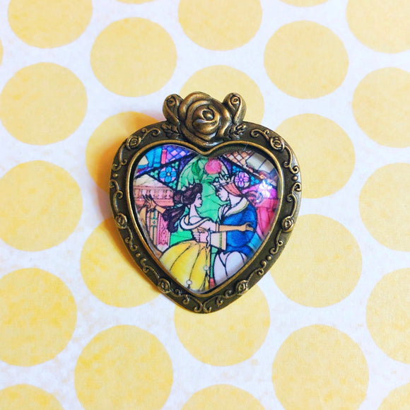 """Belle & Prince"" Beauty & The Beast Heart Stained Glass Brooch"