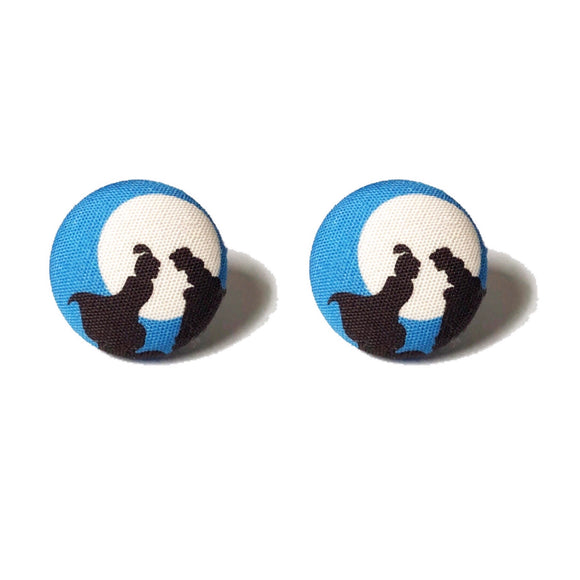 Aladdin Jasmine Balcony Silhouette Fabric Button Earrings