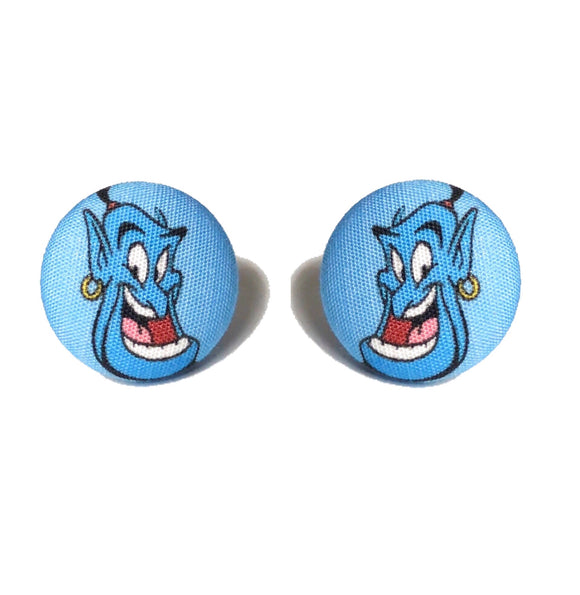 Genie Aladdin Fabric Button Earrings