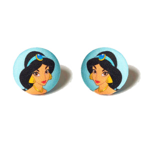 Princess Jasmine Fabric Button Earrings