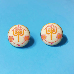Small World Clock Face Fabric Button Earrings