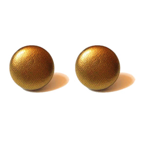 Metallic Solid Gold Fabric Button Earrings