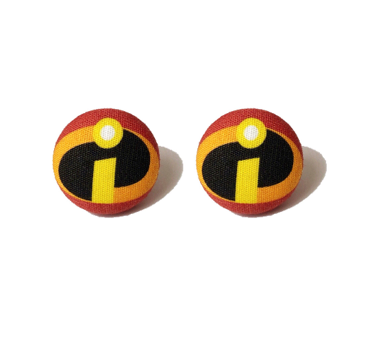 Incredibles Inspired Fabric Button Earrings