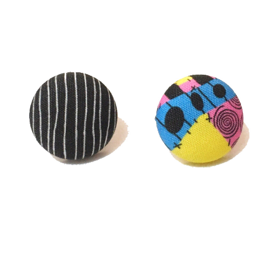 Jack & Sally Print Inspired Fabric Button Earrings