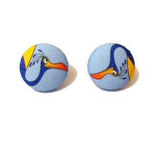 Kevin The Bird Up! Inspired Fabric Button Earrings - Pixar Pals