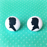 Leia & Han Silhouette Fabric Button Earrings