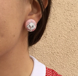 Marie Fabric Button Earrings - Pink Dots