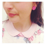 Pink Posh Polka Dot Fabric Button Earrings