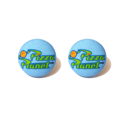 Pizza Planet Toy Story Inspired Fabric Button Earrings