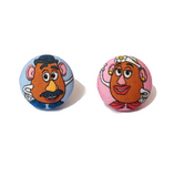 Mr. & Mrs. Potato Head Toy Story Inspired Fabric Button Earrings - Pixar Pals