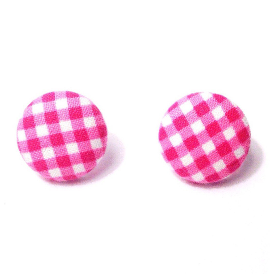 Bright Pink Gingham Floral Print Fabric Button Earrings