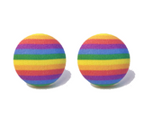Rainbow Stripe Fabric Button Earrings