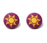 Rapunzel Sun Tangled Inspired Fabric Button Earrings