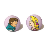 Rapunzel & Flynn Tangled Disney Couples Inspired Fabric Button Earrings