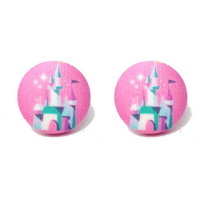 Retro Pink Castle Disney Fantasy Land Inspired Fabric Button Earrings