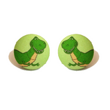 Rex Dinosaur Toy Story Inspired Fabric Button Earrings