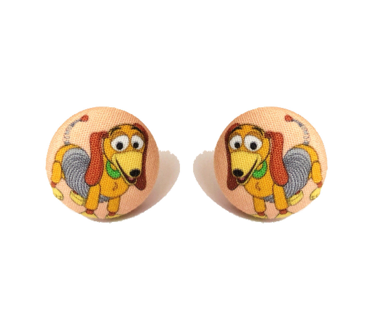 Slinky Dog Toy Story Inspired Fabric Button Earrings - Pixar Pals