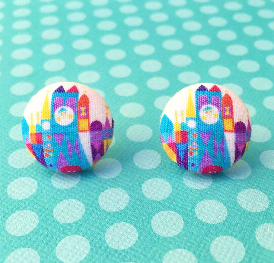 Small World After All Disney Fantasy Land Inspired Fabric Button Earrings