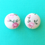 Spring Bouquet Pastel Pink Floral Fabric Button Earrings