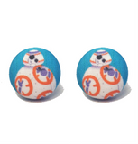 Orange Droid Fabric Button Earrings