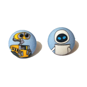 Wall-E and Eve Inspired Fabric Button Earrings - Pixar Pals
