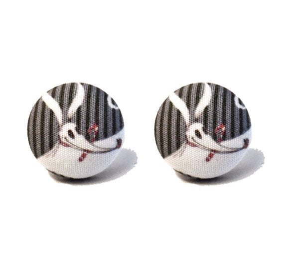 Zero The Dog Nightmare Before Christmas Inspired Fabric Button Earrings
