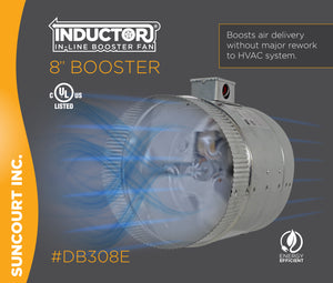 "INDUCTOR® 8"" 2-SPEED IN-LINE DUCT BOOSTER FAN™ 