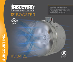 "INDUCTOR® 12"" 4-POLE IN-LINE DUCT BOOSTER FAN™ 