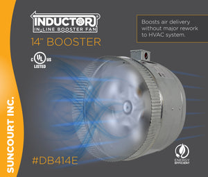 "INDUCTOR® 14"" 4-POLE IN-LINE DUCT BOOSTER FAN™ 