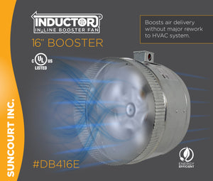 "INDUCTOR® 16"" 4-POLE IN-LINE DUCT BOOSTER FAN™ 