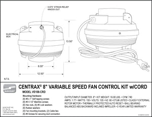 "Centrax® 8"" Centrifugal Fan Kit with Variable Speed Control - VS108-CRD"