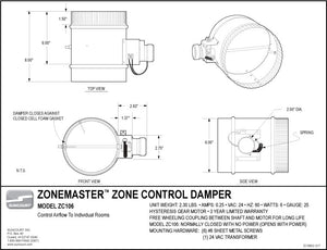 "ZoneMaster™ Motorized Damper – 6"" Normally Closed – ZC106"